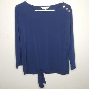 Ellen Tracy Company Button Tie Top Blue Gold